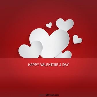 Corazones de papel en diseño de tarjeta del día de San Valentín