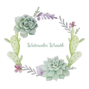 Corona de acuarela con cactus