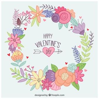 Corona de flores dibujada a mano del día de san valentín