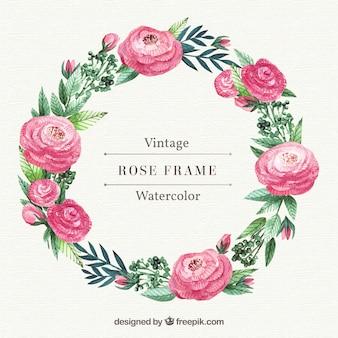 Corona de rosas y hojas de acuarela