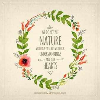 Corona floral de acuarela con frase de naturaleza
