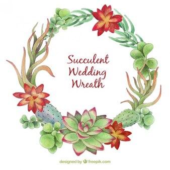 Corona floral de boda hecha de cactus