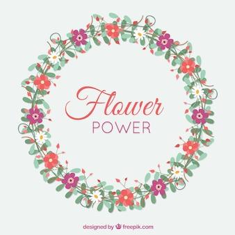 Corona floral decorativa dibujada a mano