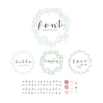 Coronas de hojas con colección de alfabetos
