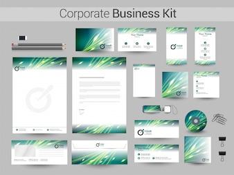 Corporate Business Kit en colores verde y blanco.