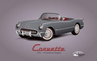 Corvette ilustración americana de coches de época