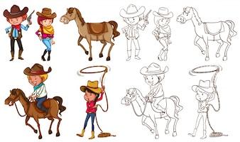 Cowboys y caballos en colores e ilustración de línea