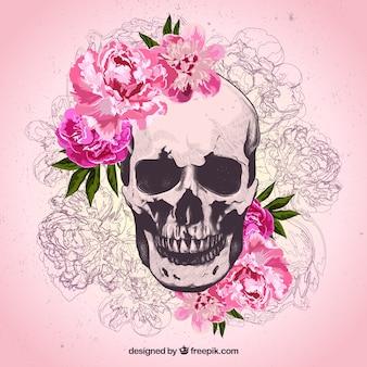 Cráneo dibujado a mano con flores