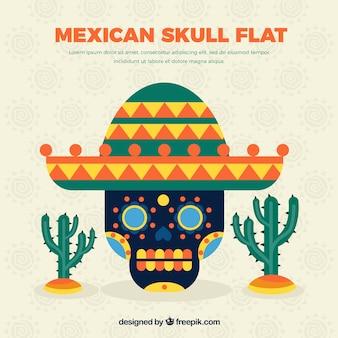 Cráneo mexicano con cactus