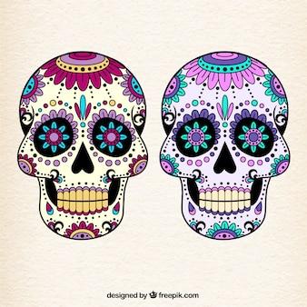 Cráneos mexicanos coloridos