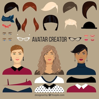 Creador de avatares planos de mujer