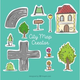 Creador de mapa de la ciudad, dibujado a mano