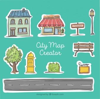 Creador de mapa de la ciudad, estilo dibujado a mano