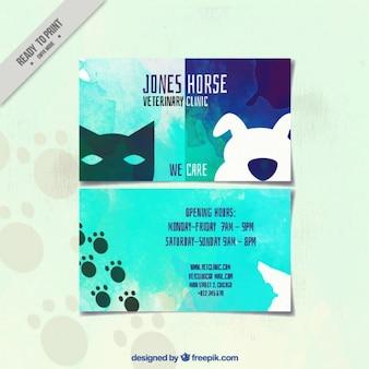 Creativa tarjeta de acuarela de clínica veterinaria