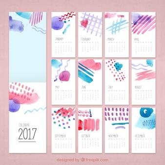 Creativo calendario de 2017 de acuarela
