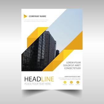 Creativo folleto de negocios con formas amarillas