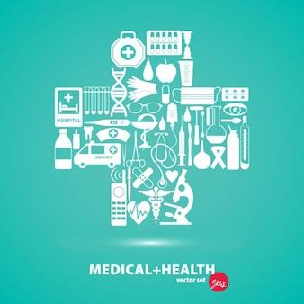 Cruz con elementos médicos