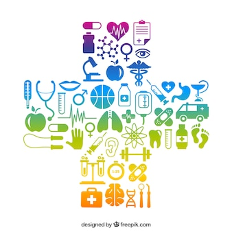 Cruz hecha de iconos médicos