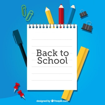 Cuaderno para la vuelta al colegio sobre material escolar