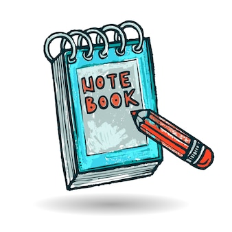 Cuaderno y lápiz dibujado a mano