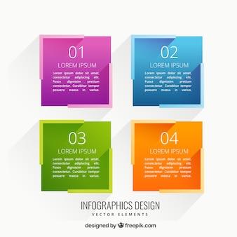Cuadrados coloridos infografía