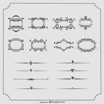Cuadros antiguos y divisores de texto vector colección