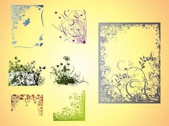 Cuadros con flores decoraciones vector