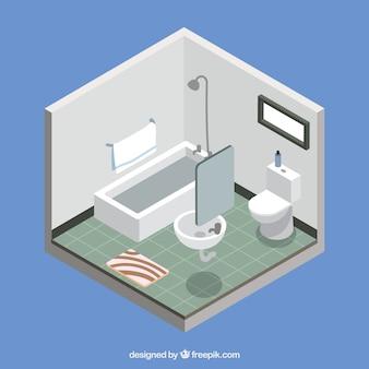 Cuarto de baño en diseño isométrico