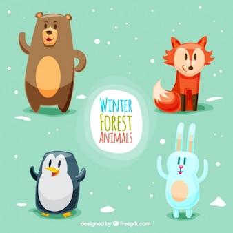 Cuatro animales del bosque sonrientes diferentes