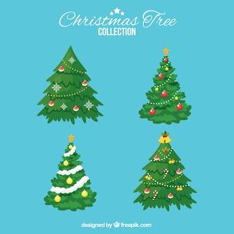Cuatro árboles de navidad elegantes