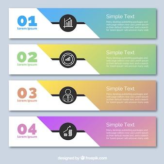 Cuatro banners de colores, infografía