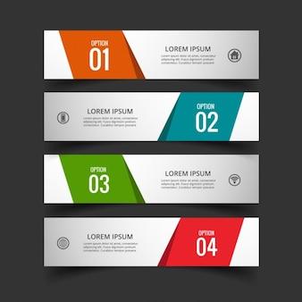 Cuatro banners geométricos para infografías