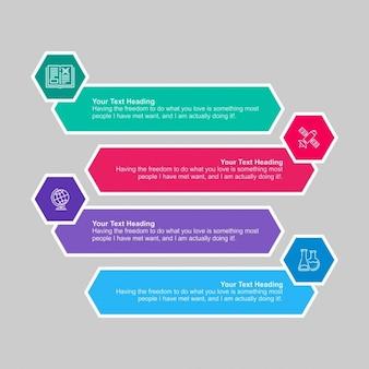 Cuatro banners hexagonales infográficos