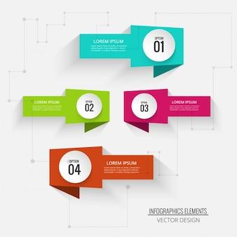 Cuatro banners para infografías