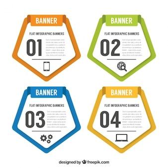 Cuatro banners pentagonales de infografía