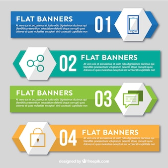 Cuatro banners planos para infografía