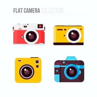 Cuatro cámaras de colores en diseño plano