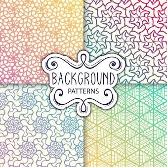 Cuatro coloridos fondos con patrones