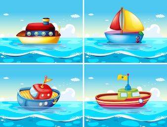 Cuatro diferentes tipos de barcos flotando en el mar ilustración