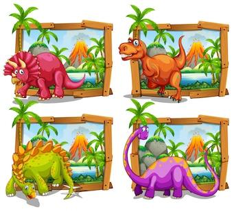 Cuatro dinosaurios en la ilustración de marco de madera