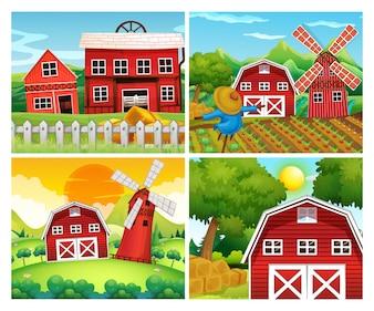 Cuatro escenas de granjas