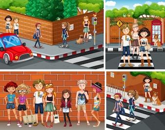 Cuatro escenas de la ciudad con jóvenes hipsters