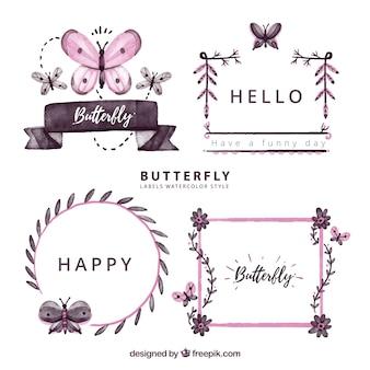 Cuatro etiquetas con mariposas