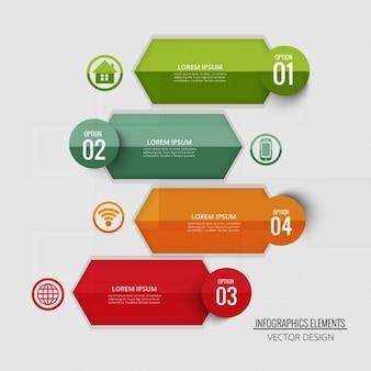 Cuatro etiquetas para infografías