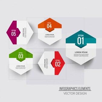 Cuatro hexágonos para infografías