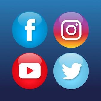Cuatro iconos de redes sociales