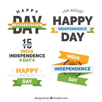 Cuatro insignias del día de la independencia de india en estilo retro