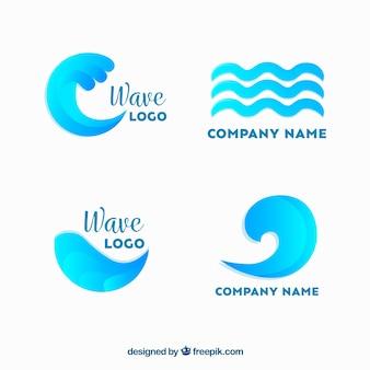 Cuatro logotipos de olas