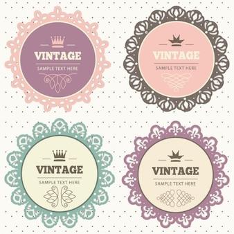 Cuatro marcos con ornamentos vintage