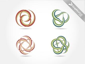 Cuatro nudos cintas de vectores